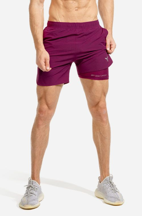 2in1 Maroon Drytech Shorts