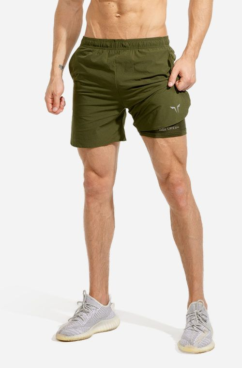 Olive - 2in1 Drytech Shorts