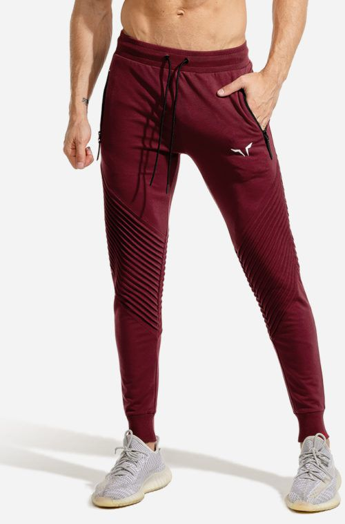 SQUATWOLF-workout-pants-for-men-ribbed-jogger-pants-maroon-gym-wear