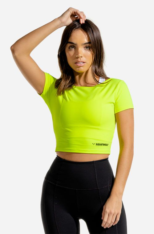 SQUATWOLF-gym-t-shirts-for-women-warrior-crop-tee-half-sleeves-neon-workout-clothes