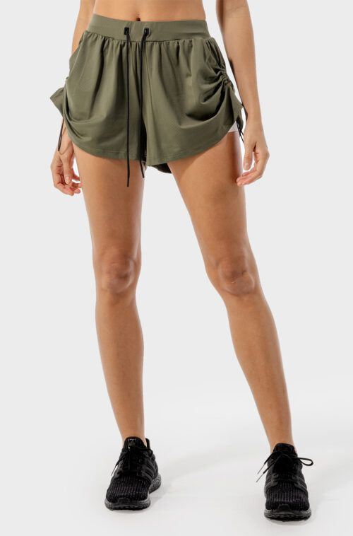 SQUATWOLF-gym-shorts-for-women-flux-2-in-1-shorts-khaki-and-white-workout-clothes