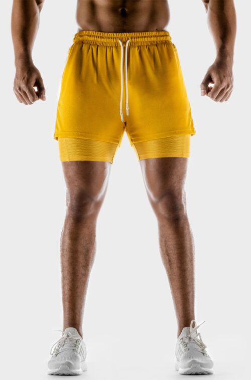 SQUATWOLF-workout-pants-for-men-hybrid-performance-2-in-1-shorts-yellow-gym-wear