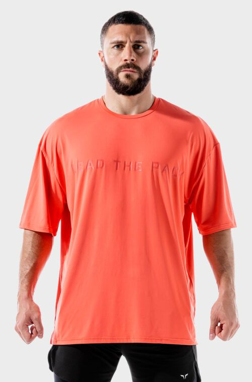 SQUATWOLF-workout-shirts-for-men-lab-360-oversized-tee-hot-coral-gym-wear