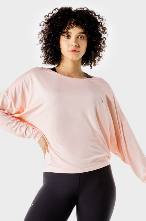 squatwolf-gym-wear-womens-fitness-batwing-top-peach-workout-shirts