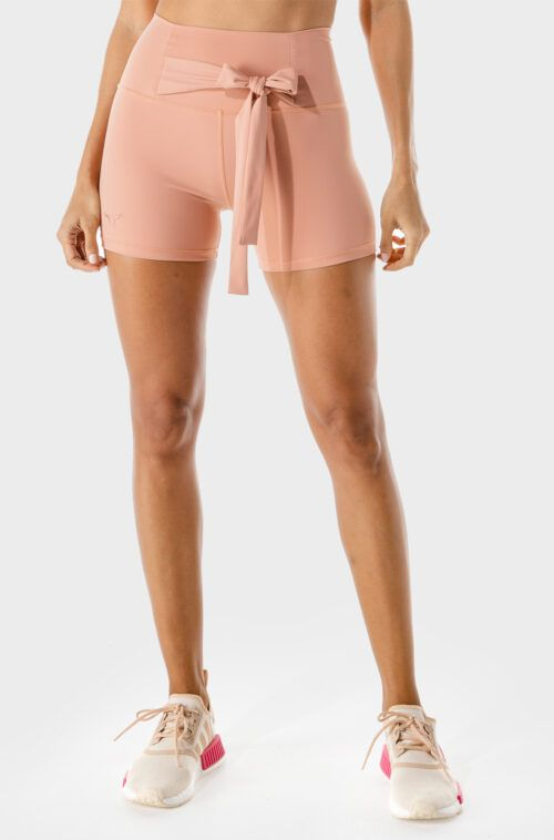 squatwolf-workout-clothes-womens-fitness-tie-shorts-pink-gym-shorts