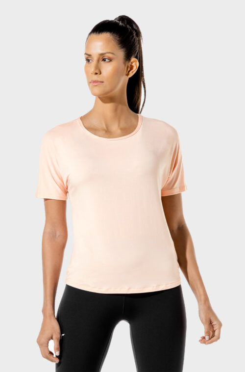 squatwolf-gym-wear-womens-fitness-oversized-tee-pink-workout-shirts