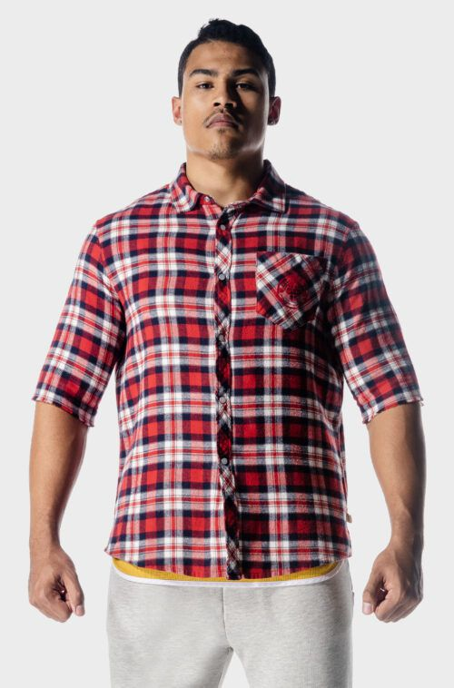 SQUATWOLF-workout-shirts-golden-era-flannel-shirt-red-check-workout-clothes-for-men